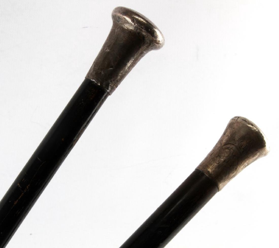 LOT OF TWO EBONIZED SHAFT SILVER TOP CANES