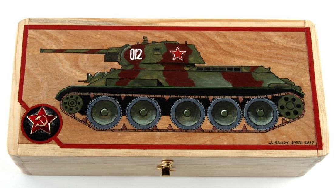 HAND MADE WOODEN BOX W/ 1941 SOVIET TANK R.SMITH