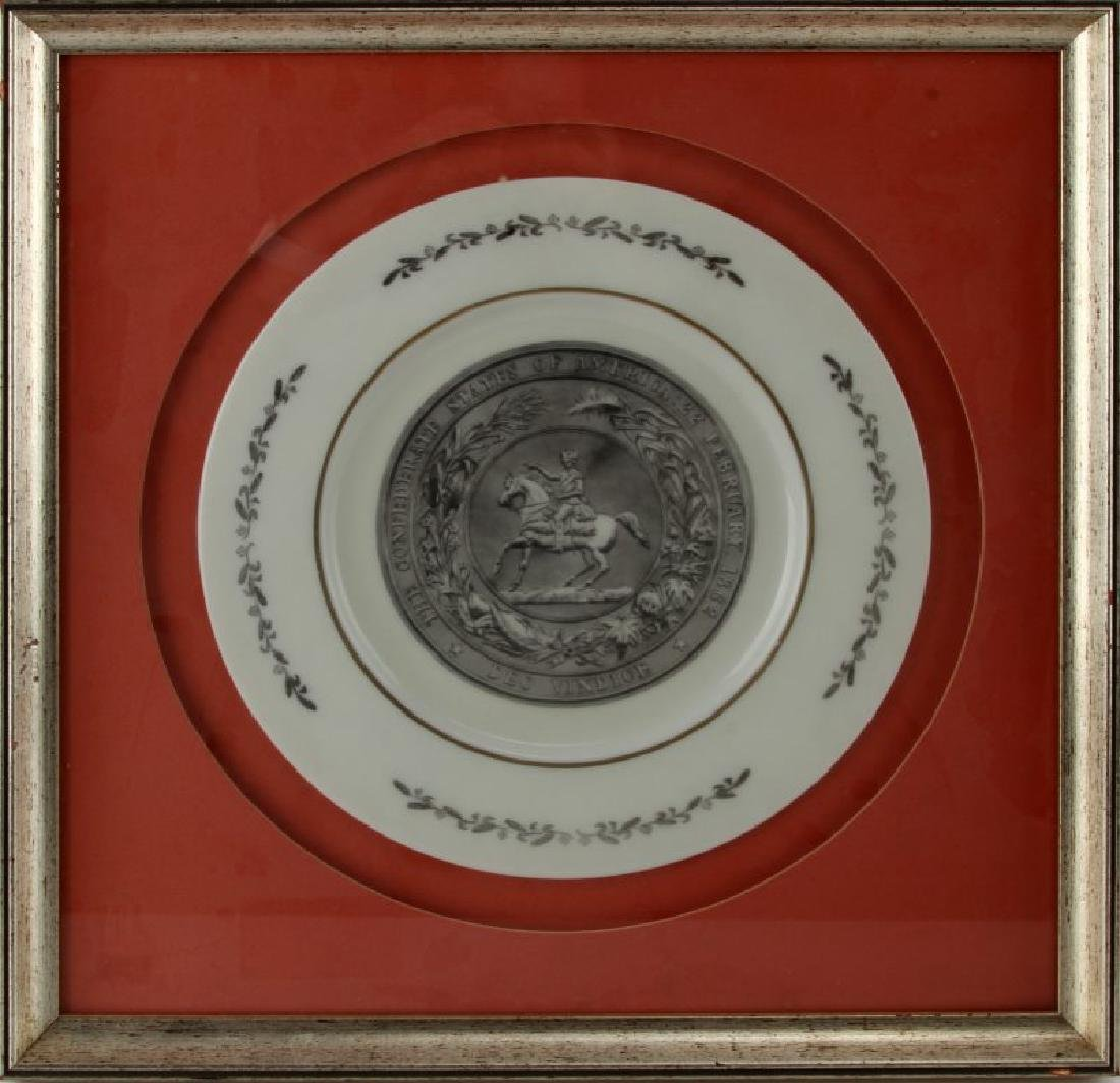 FRAMED PLATE WITH CONFEDERATE STATE SEAL FEB 1862