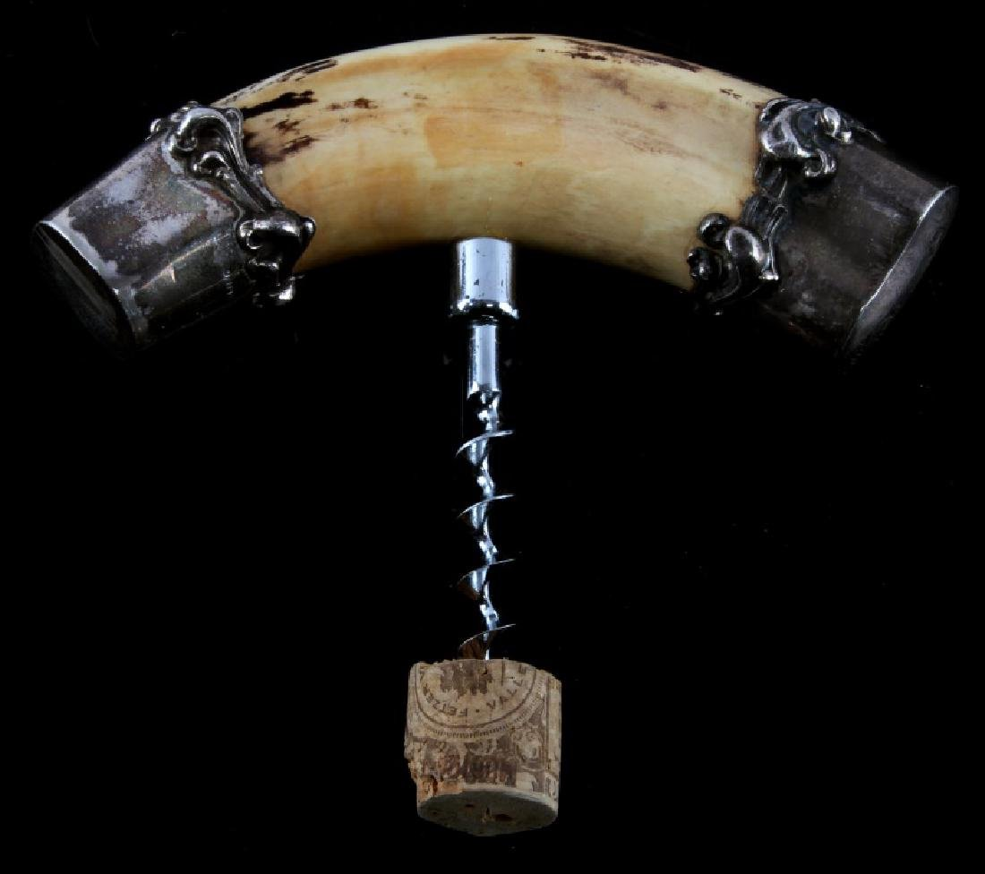 ANTIQUE BOAR TUSK & STERLING HANDLE CORKSCREW