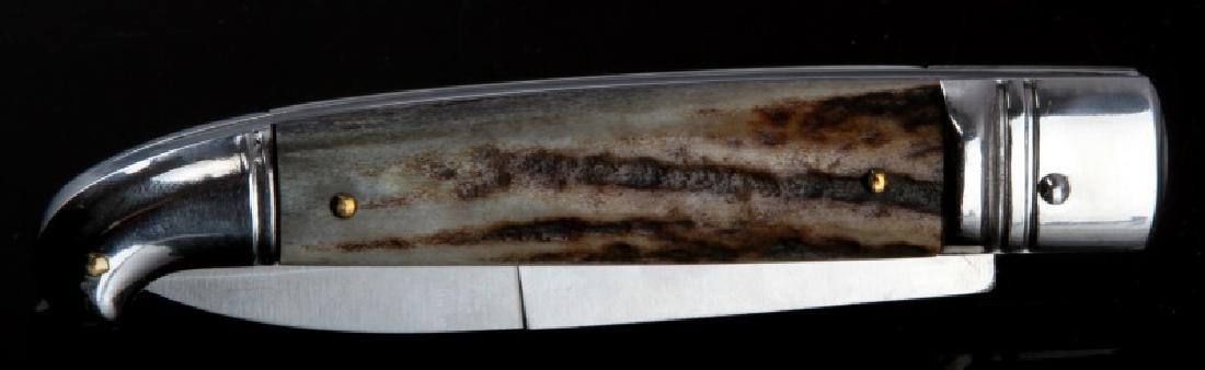 INOX ITALIAN HORN HANDLE SWITCHBLADE KNIFE