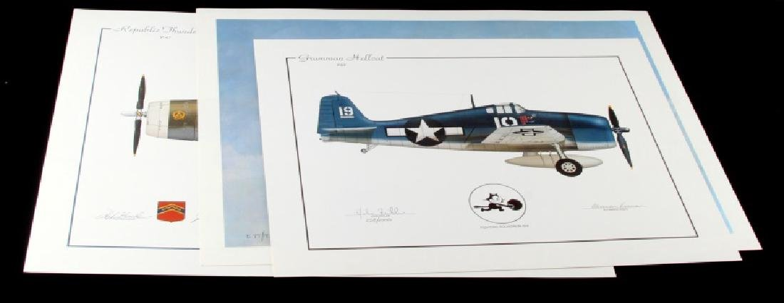 LOT OF 3 WWII AMERICAN FIGHTER PLANE PRINTS