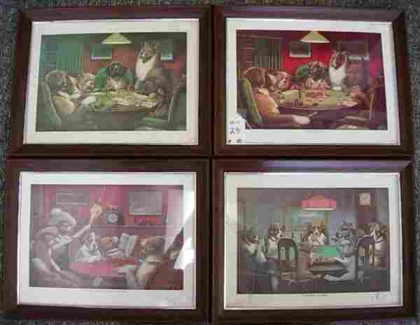 CM COOLIDGE DOGS PLAYING POKER PRINT LOT OF 4
