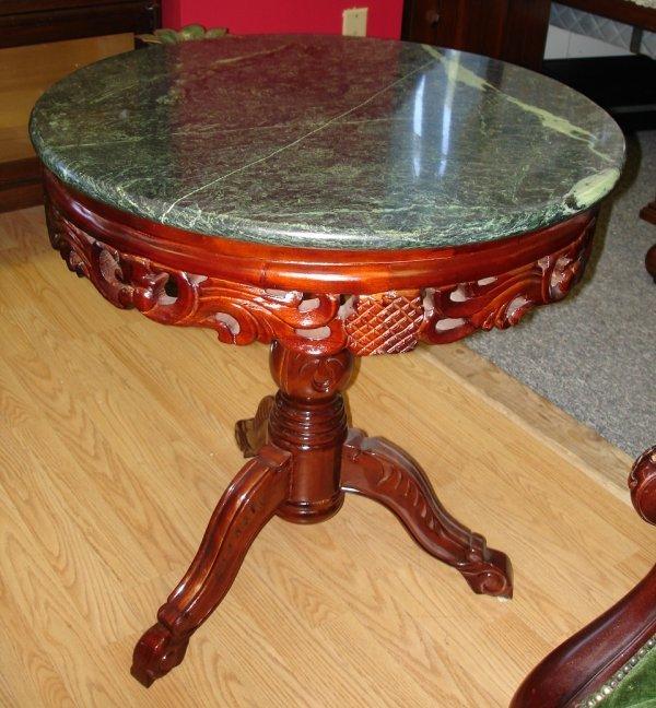 KIMBALL STYLE MAHOGANY MARBLE ROUND COFFEE TABLE