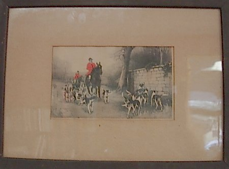 """ANTIQUE FOX HUNTING LITHOGRAPH """"OVER THE WALL"""""""