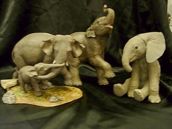 LENOX PORCELAIN ASIAN & AFRICAN ELEPHANT FIGURINES