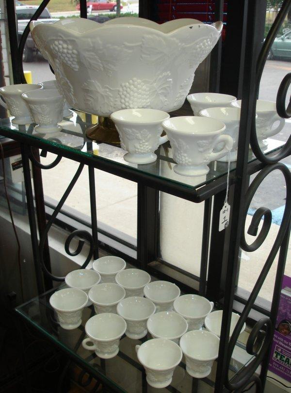 HARVEST MILK GLASS PUNCH BOWL SET W ORIGINAL BOX