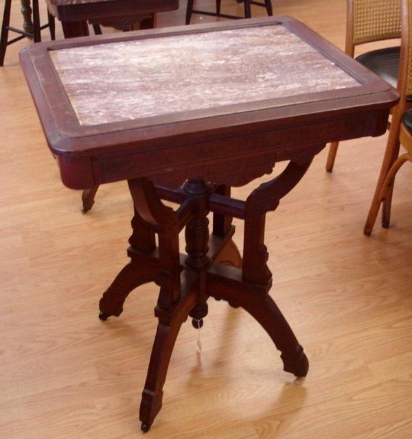 EASTLAKE BROWN RED MARBLE TOP SIDE TABLE