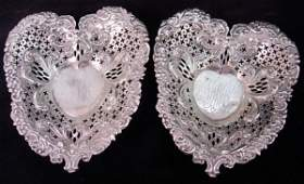 2 GORHAM STERLING SILVER HEART CANDY DISH PIN TRAY
