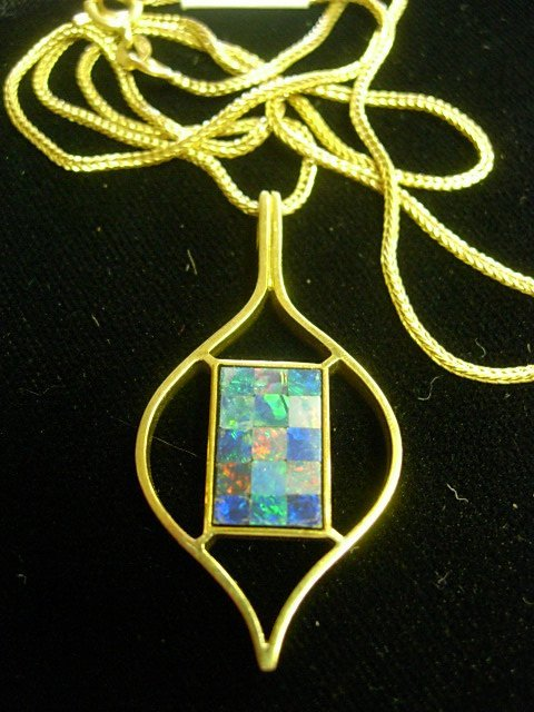 14K GOLD FOXTAIL NECKLACE WITH OPAL INLAY PDT