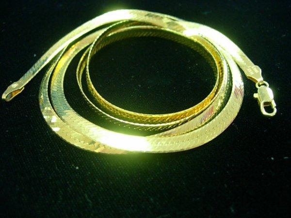 14K GOLD BEVELED HERRINGBONE 4MM WIDE 16.0 GRAMS