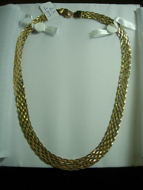 14K TRI COLOR GOLD BRAIDED HERRINGBONE NECKLACE