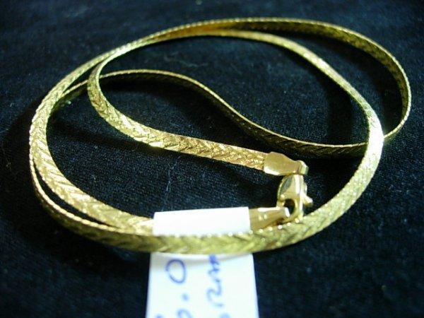 14K BEVELED HERRINGBONE NECKLACE GOLD CHAIN