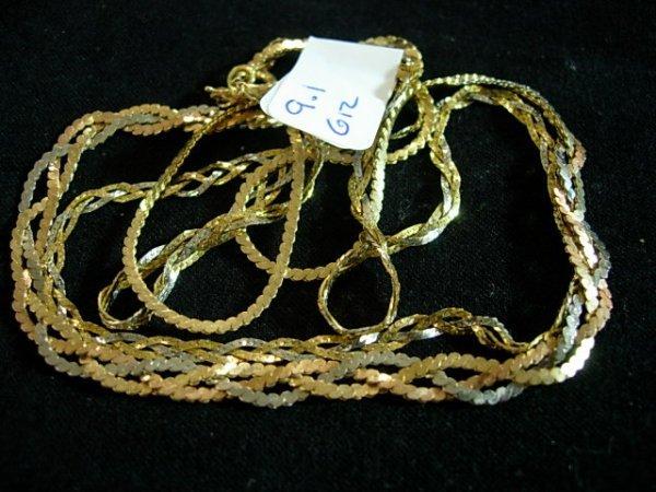 14K GOLD LADIES SERPENTINE TRICOLOR GOLD NECKLACE