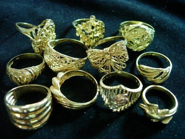 NINE LADIES DIAMOND CUT GOLD RINGS 14K / 10K