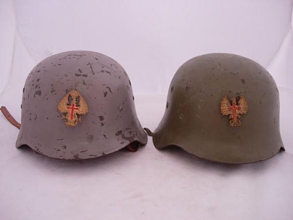 WWII SPANISH Z45 HELMET M35 LOT OF 2 W INSIGNIA BADGE