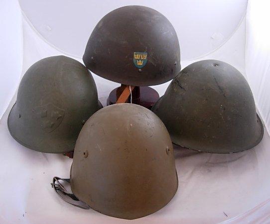 SWEDISH EUROPEAN WWII MILITARY HELMET LOT OF 4