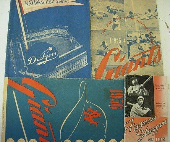50'S 60'S BASEBALL PROGRAMS GIANTS YANKEES DODGERS