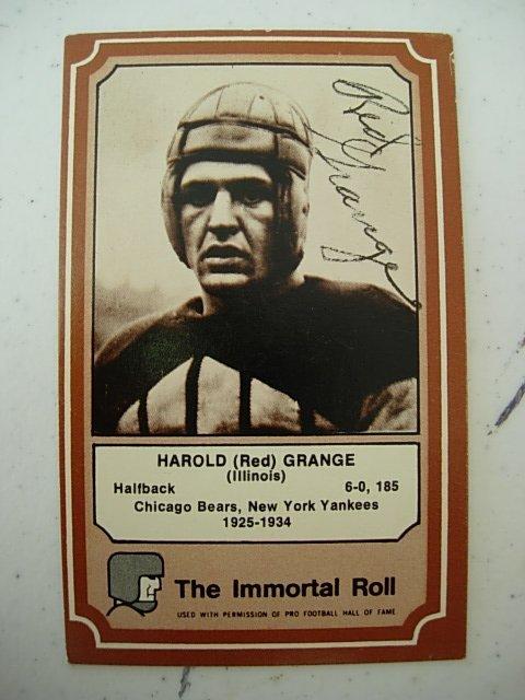 RED GRANGE SIGNED HALL OF FAME FOOTBALL CARD AFL