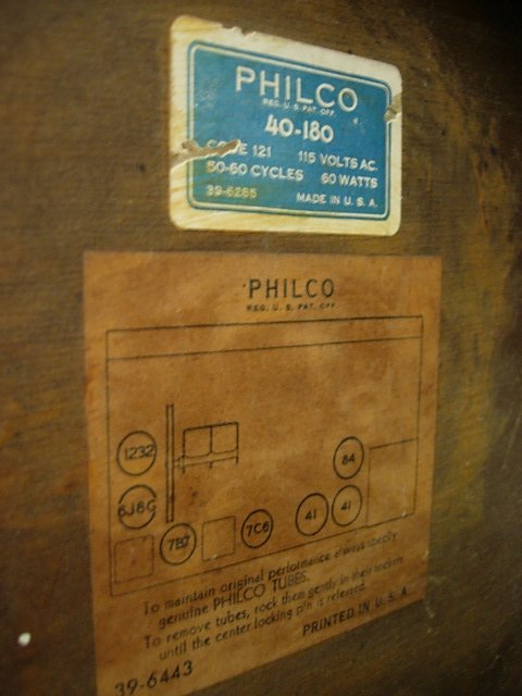 1940 PHILCO ANTIQUE RADIO 40-180     - 5