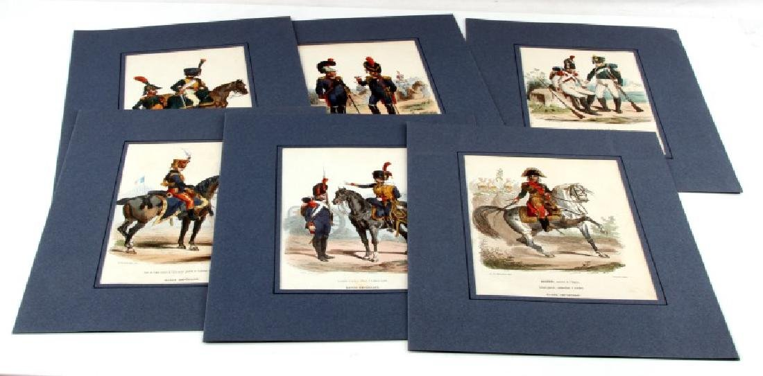 6 HAND COLORED NAPOLEONIC ARMY LACOSTE ENGRAVINGS