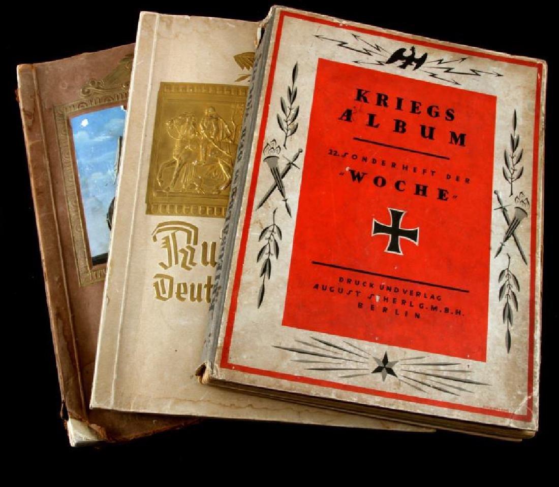 WWI KRIEGS ALBUM & 2 WWII CIGARETTE CARD ALBUMS