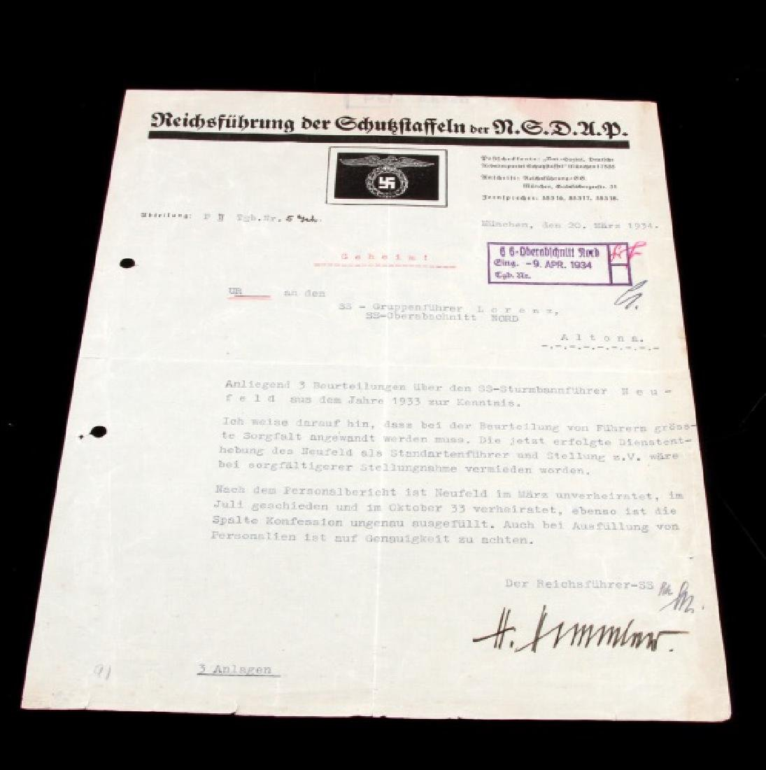 WWII GERMAN THIRD REICH SS HIMMLER SIGNED DOCUMENT