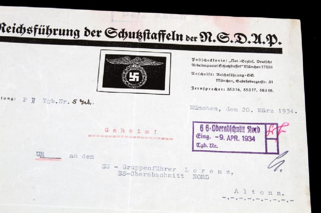 WWII GERMAN THIRD REICH SS HIMMLER SIGNED DOCUMENT - 2