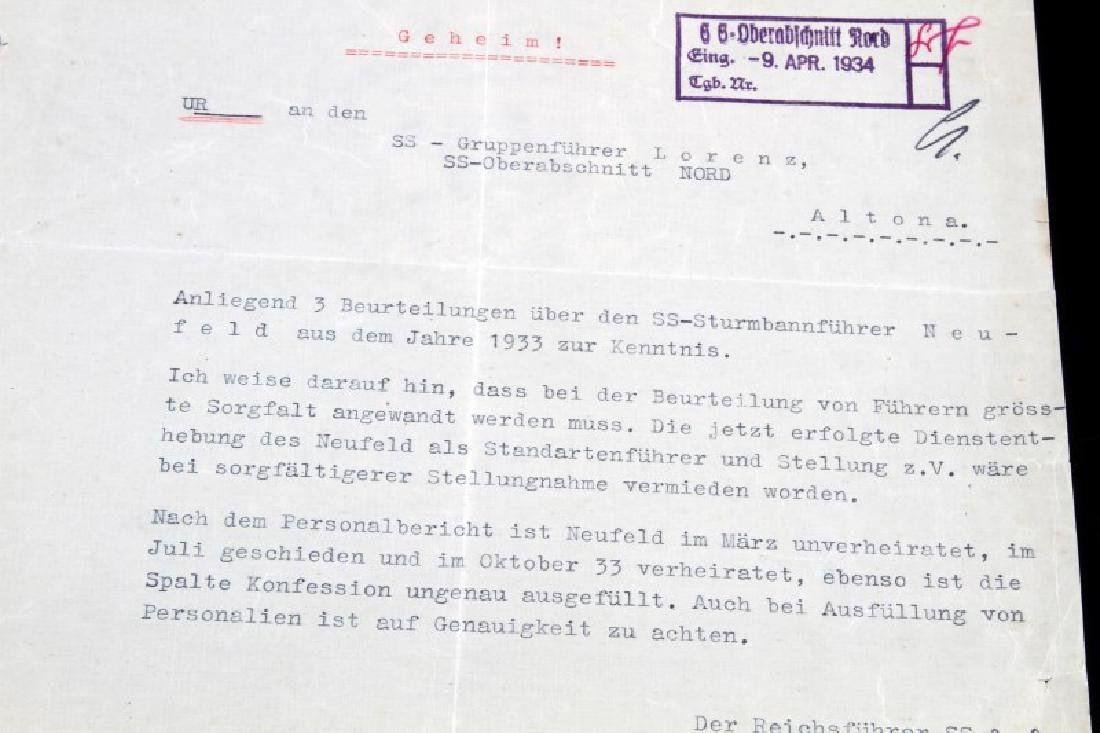 WWII GERMAN THIRD REICH SS HIMMLER SIGNED DOCUMENT - 3
