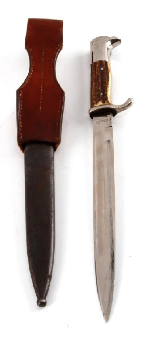 WWII THIRD REICH LONG STAG HANDLE PARADE BAYONET - 4