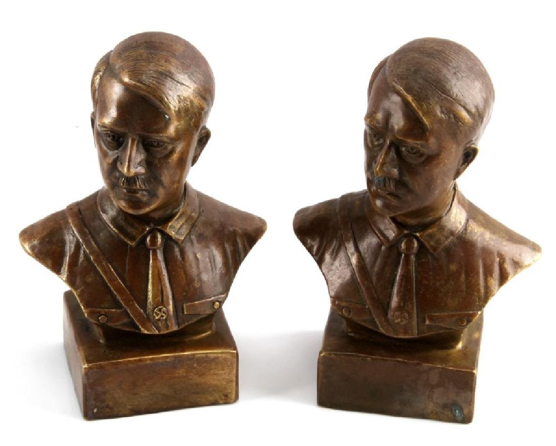 TWO COPPER THIRD REICH HITLER BUST STATUETTES