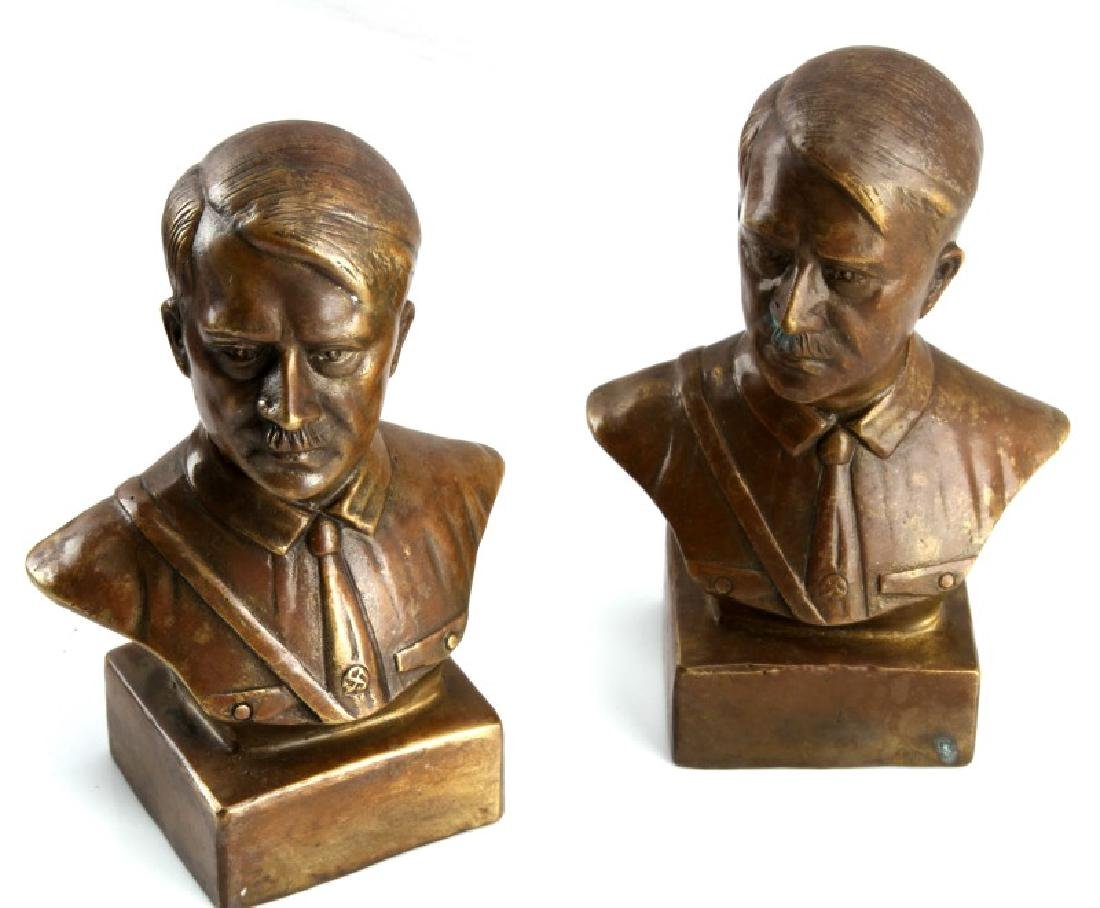 TWO COPPER THIRD REICH HITLER BUST STATUETTES - 2