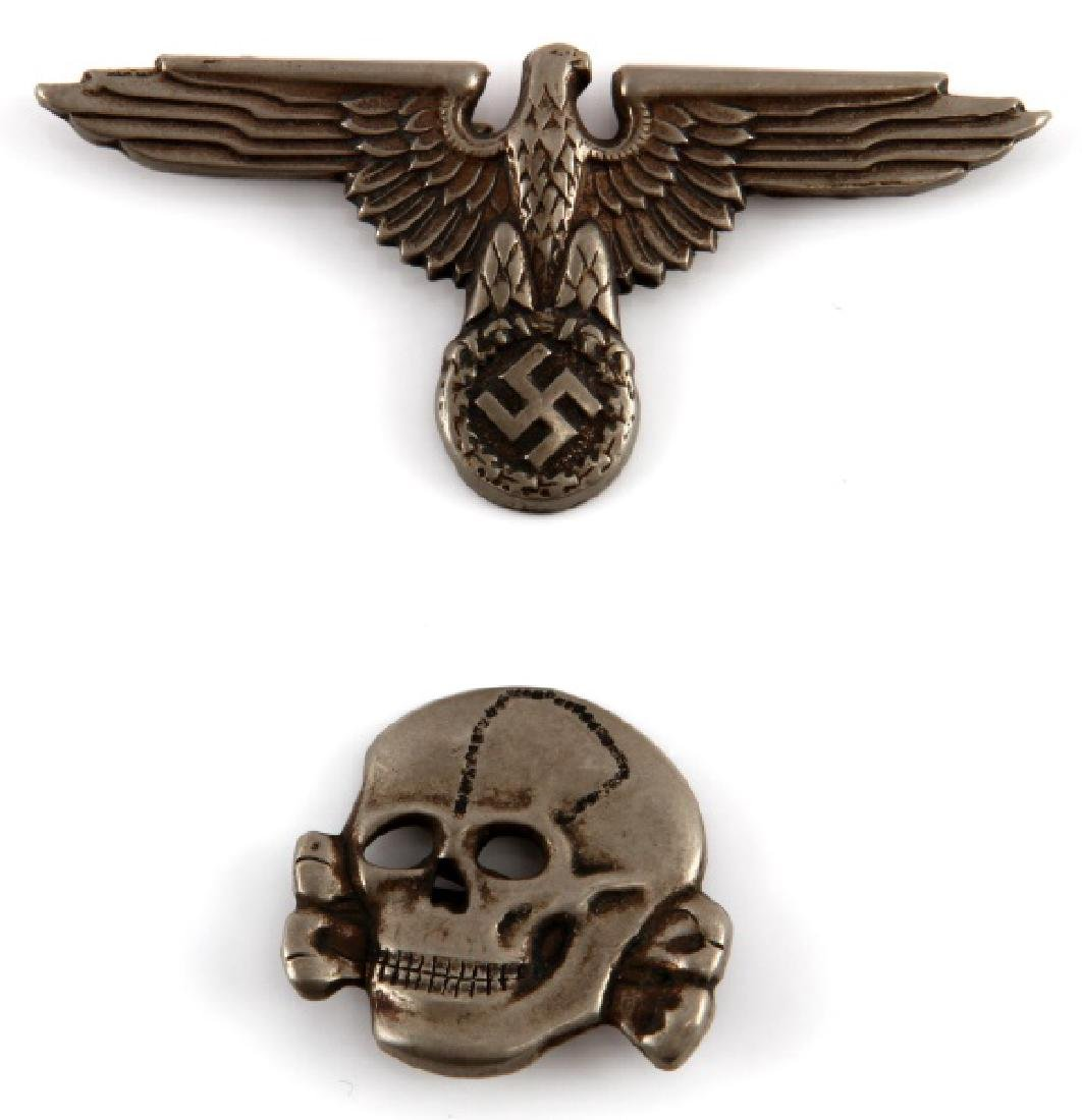 WWII GERMAN 3RD REICH SS CAP SKULL AND TOTENKOPF