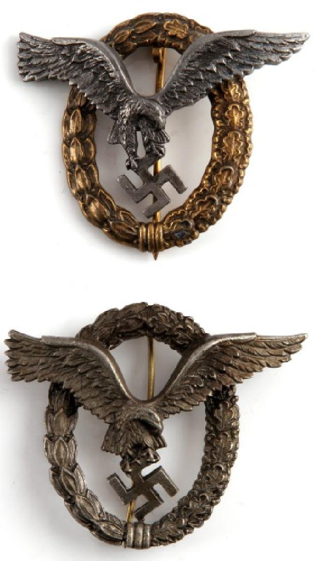 2 WWII GERMAN 3RD REICH LUFTWAFFE PILOT BADGES