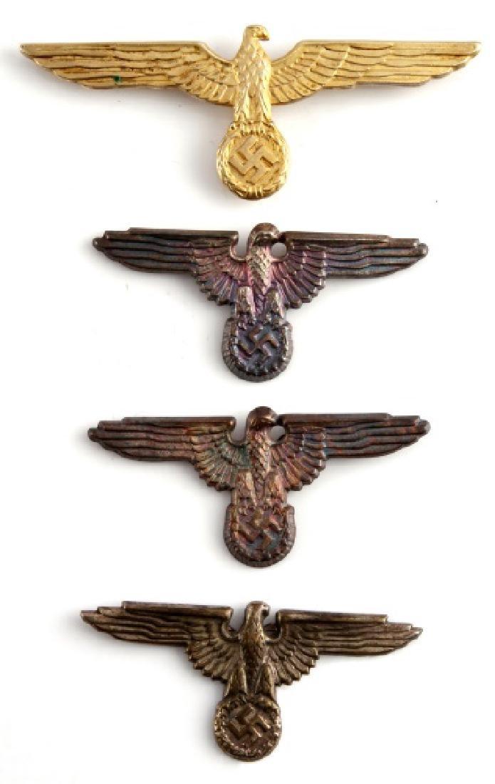 4 WWII GERMAN 3RD REICH SS EAGLE VISOR CAP BADGES