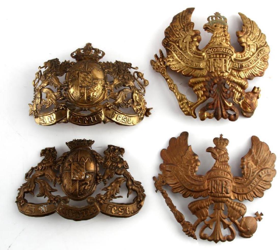 4 WWII IMPERIAL GERMAN PICKELHAUBE HELMET PLATES