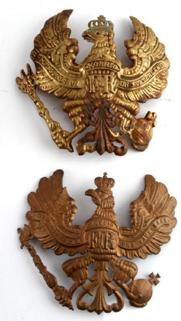 4 WWII IMPERIAL GERMAN PICKELHAUBE HELMET PLATES - 3