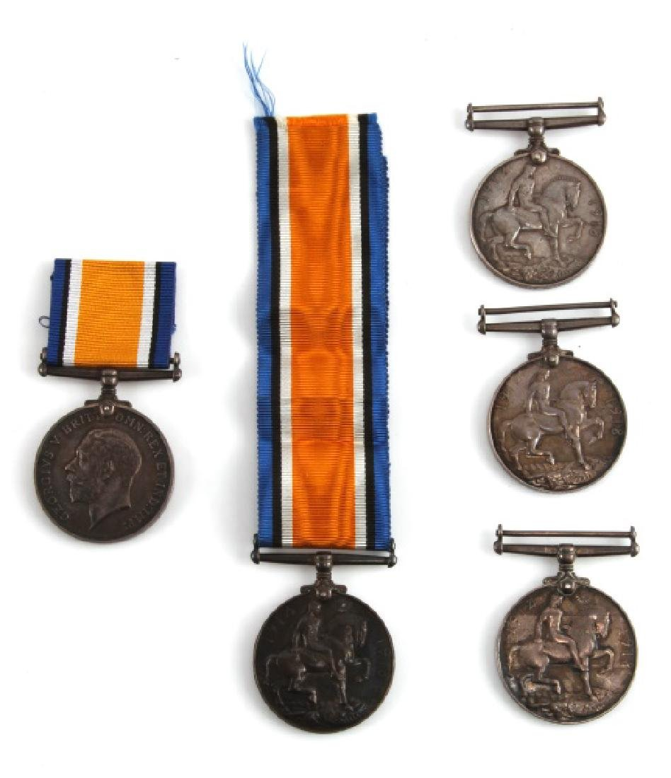 5 WWI BRITISH CANADA NAMED SERVICE MEDALS & 1 WWII
