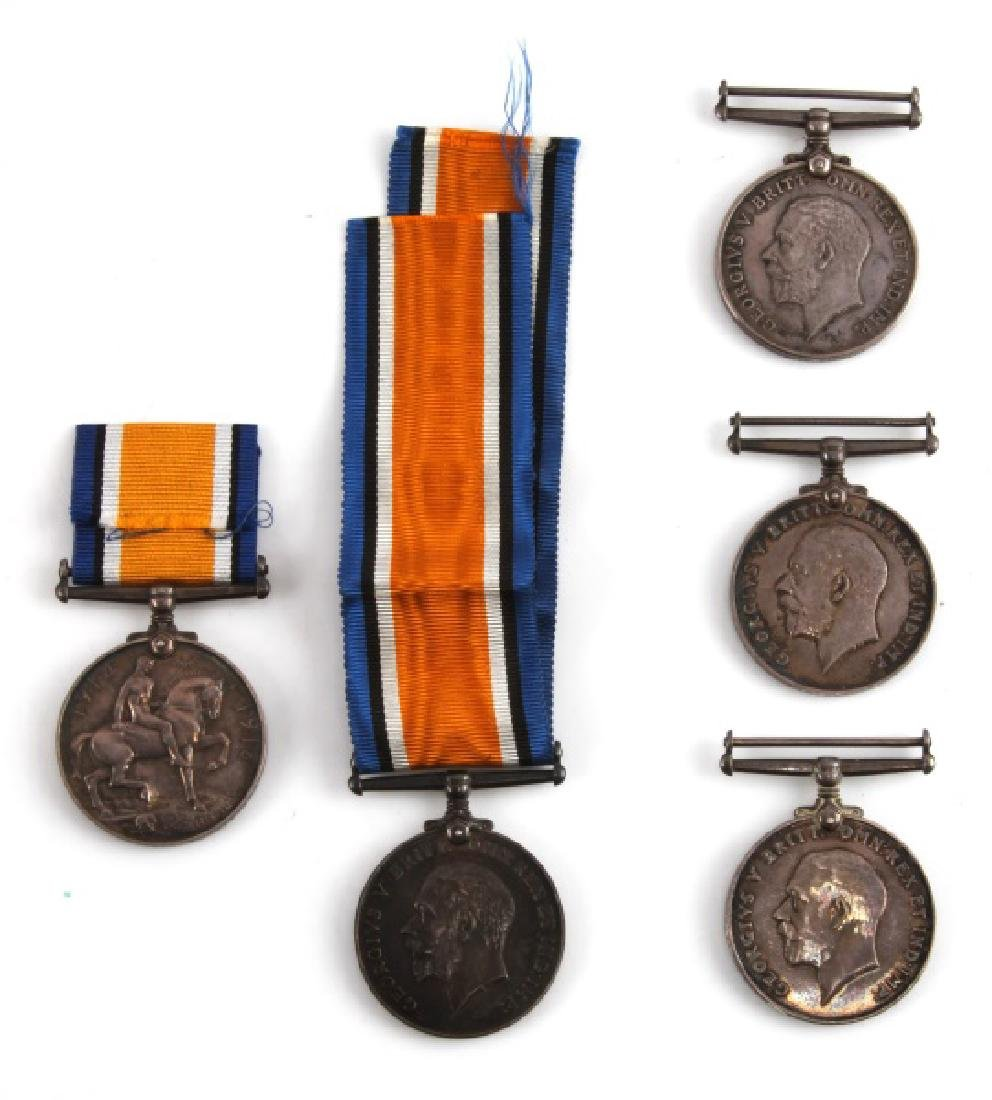 5 WWI BRITISH CANADA NAMED SERVICE MEDALS & 1 WWII - 4