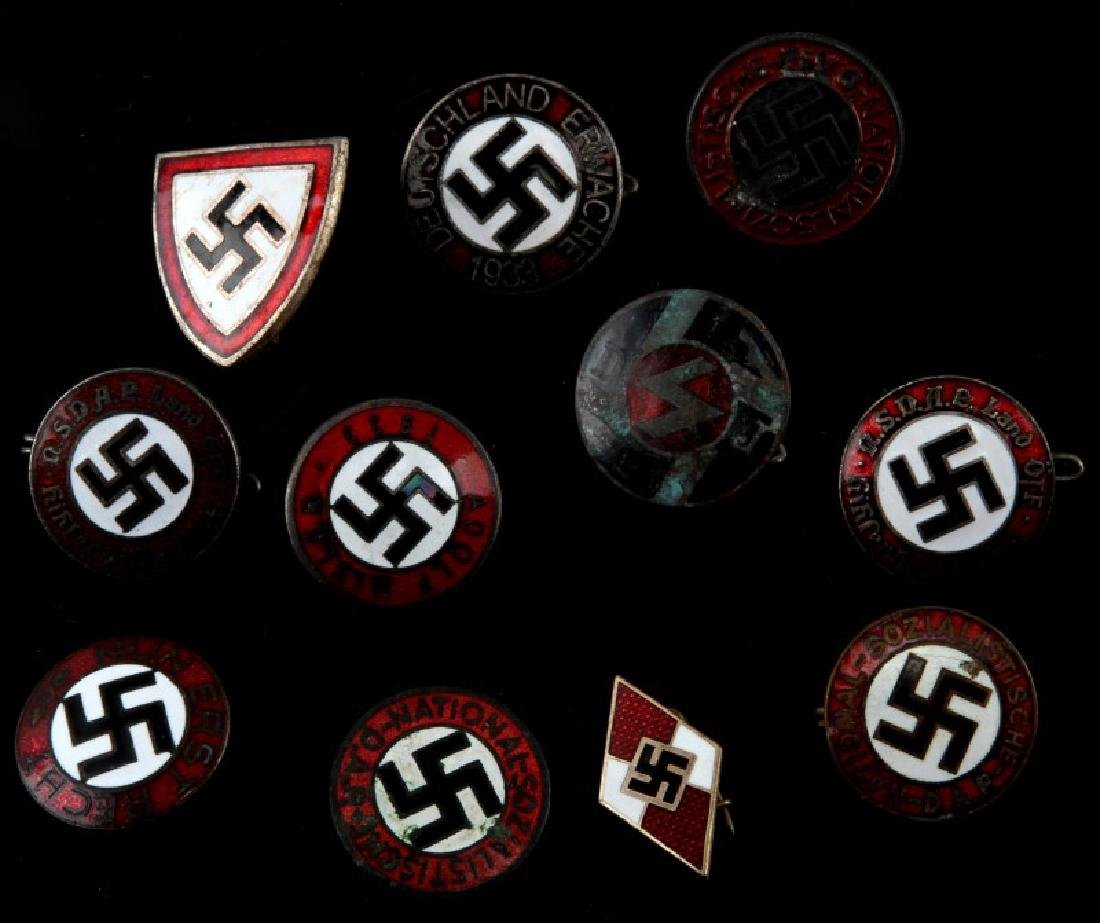 11 MIXED GERMAN WWII PARTY PINS HITLER NSDAP MORE