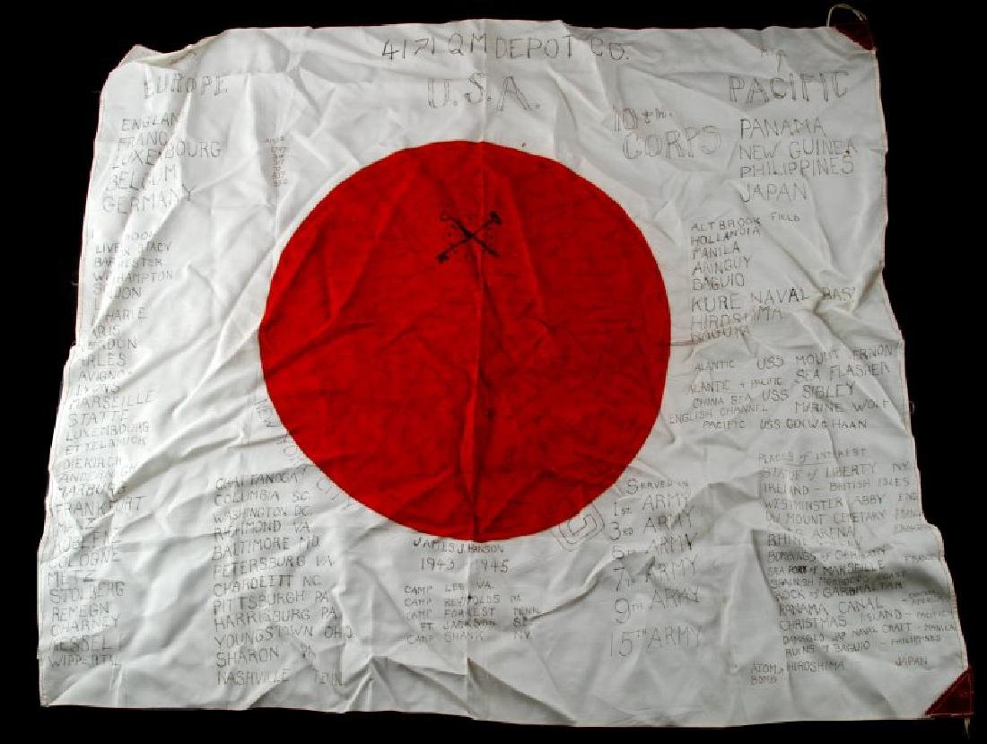 WWII JAPANESE MEATBALL FLAG SIGNED 4171 Q.M. DEPOT