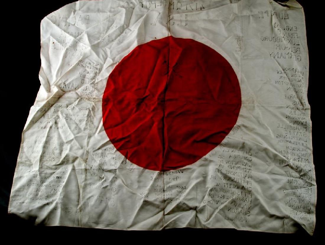 WWII JAPANESE MEATBALL FLAG SIGNED 4171 Q.M. DEPOT - 5