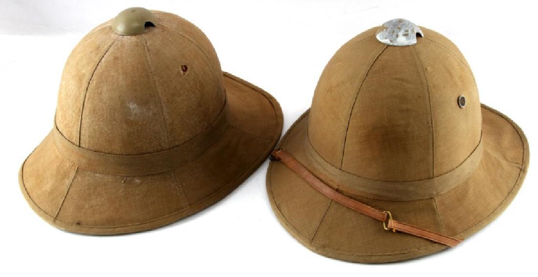 WWII LOT OF 2 ITALIAN TROPICAL PITH HELMETS