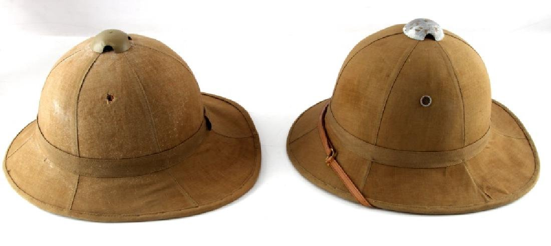 WWII LOT OF 2 ITALIAN TROPICAL PITH HELMETS - 2