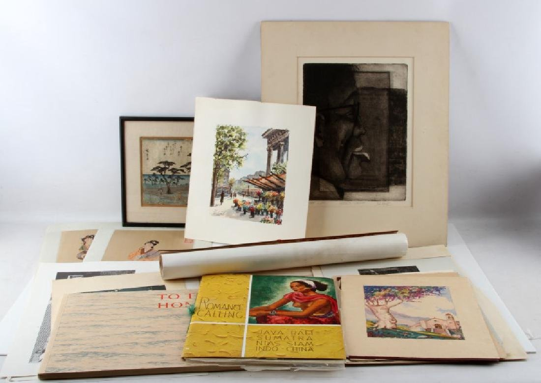 LOT OF ASSORTED ART PRINTS ENGRAVINGS AND MORE