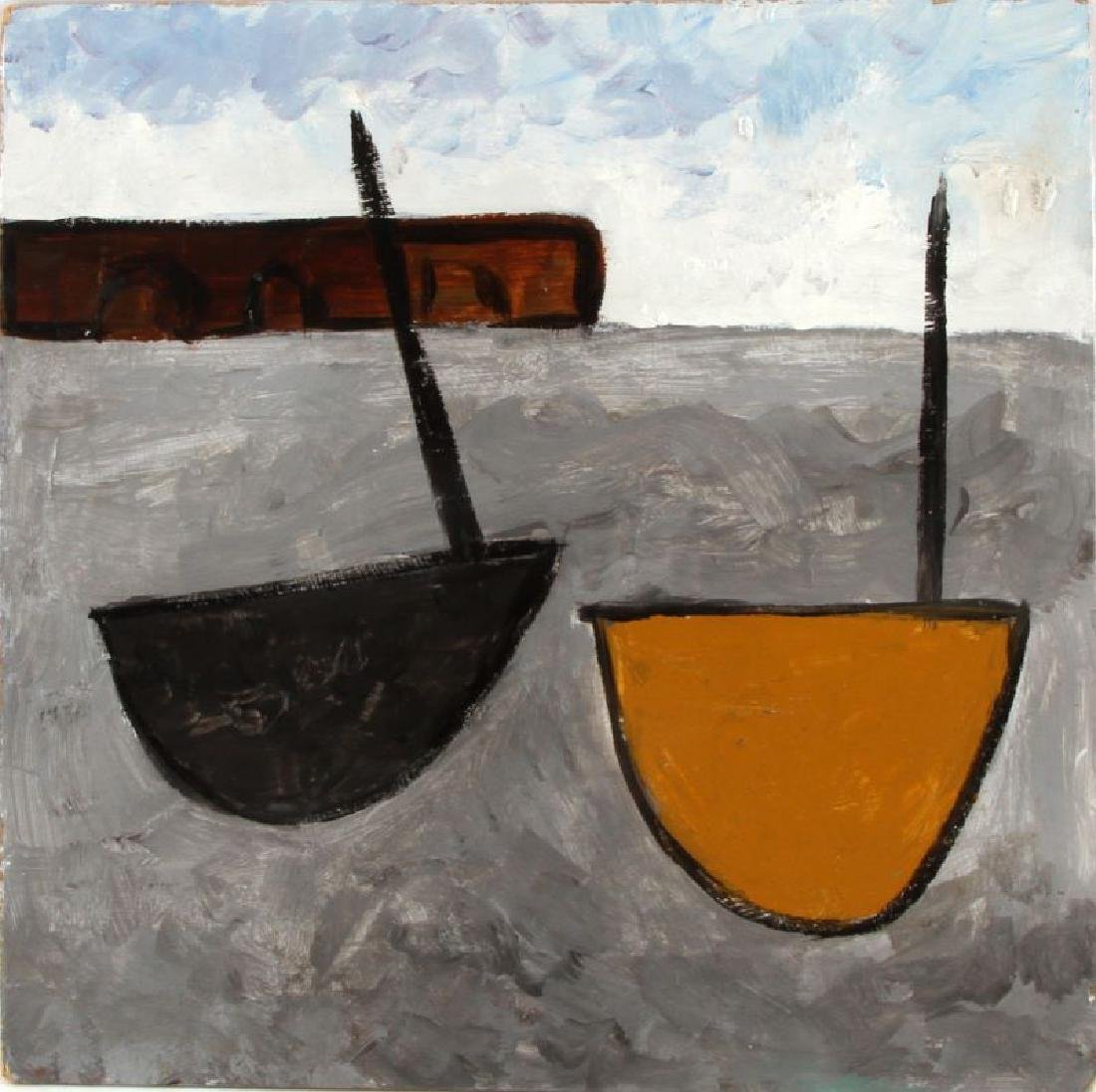 1934 WILLIAM SCOTT TITLED TWO BOATS OIL ON BOARD
