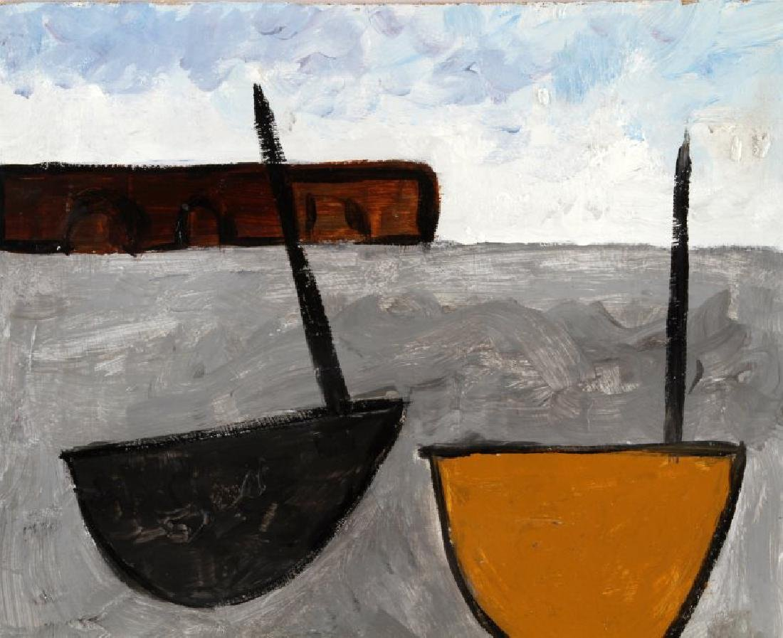 1934 WILLIAM SCOTT TITLED TWO BOATS OIL ON BOARD - 2