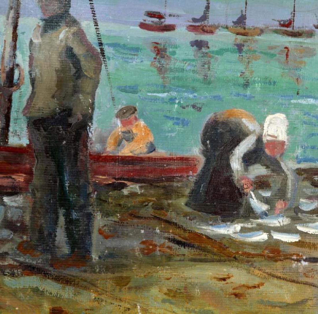 1926 CHRISTOPHER WOOD COASTAL SCENE OIL ON BOARD - 3