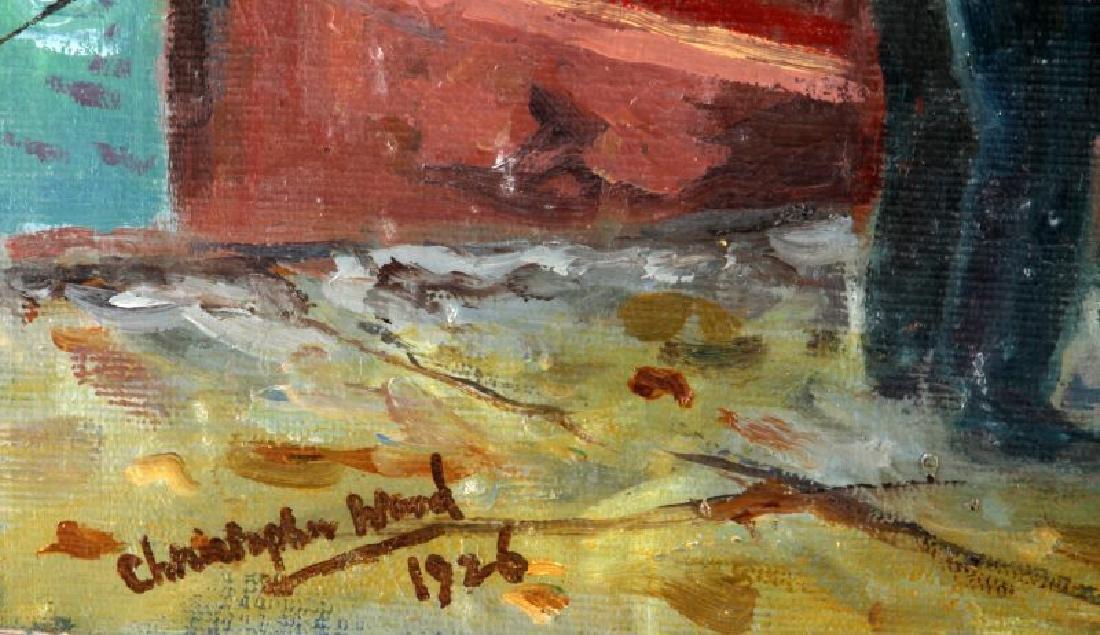 1926 CHRISTOPHER WOOD COASTAL SCENE OIL ON BOARD - 4