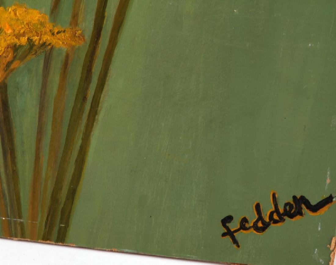 MARY FEDDON FLORAL OIL ON BOARD - 3
